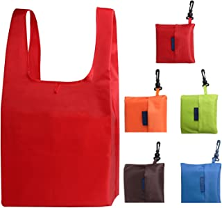 JPNK Reusable Washable Durable and Lightweight Grocery Bags Nylon Tote Set of 5