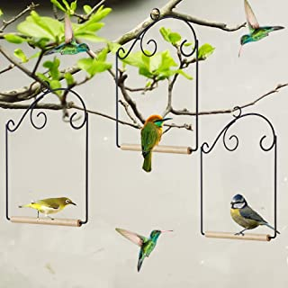 winemana Set of 3 Hummingbird Swings, Rust Resistant Metal Frame, Wooden Dowel, Strong and Sturdy, Attach to Bird Feeders,...
