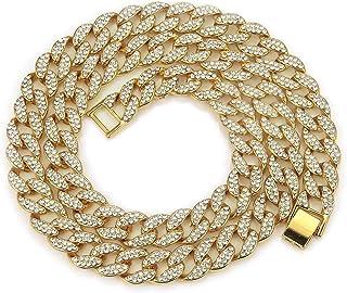 قلادة سلسلة حلقات معدنية كوبية من نافاست هيب هوب مثلج بأحجار الراين سلسلة قلادة للرجال أزياء الهيب هوب مجوهرات 16-30 بوصة