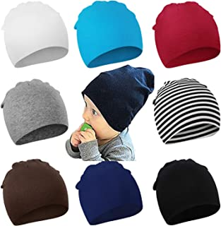 DRESHOW BQUBO 8 Pack Unisex Baby Beanie Hat Infant Baby Soft Cute Knit Cap Nursery Beanie