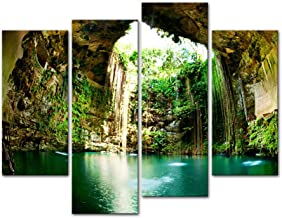 Wall Art Decor Poster Painting On Canvas Print Pictures 4 Pieces Fantastic Ik-Kil Cenote Chichen Itza Mexico Landscape Cave Framed Picture for Home Decoration Living Room Artwork