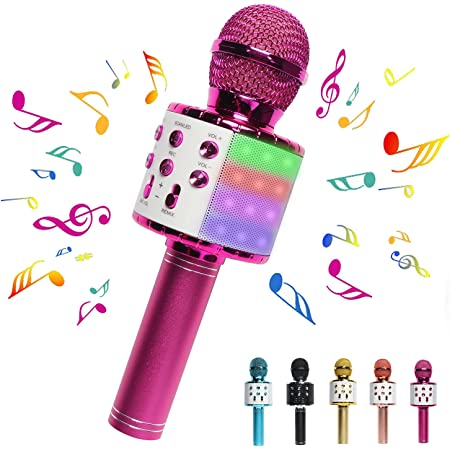 DREAM&GLAMOUR Karaoke Microphone for Kids,Bluetooth Wireless Microphone with LED Lights,Portable Handheld Karaoke Mic Speaker Machine for Girls Boys Adults(Pink)
