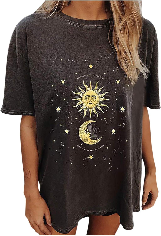 Women's Short Sleeve Tops,Casual Vintage Sun and Moon Animal Printed Crewneck Short Sleeve Tops Shirts Blouse
