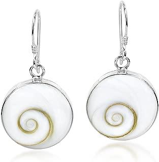 Elegant Round & Swirling 15 mm Shiva Shell .925 Sterling Silver Dangle Earrings