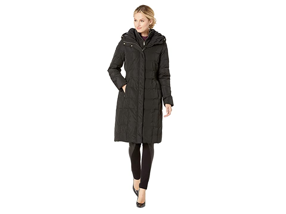 Cole Haan Quilted Down Coat with Bib Elasticated Side Waist Detail and Oversized Hood (Black) Women