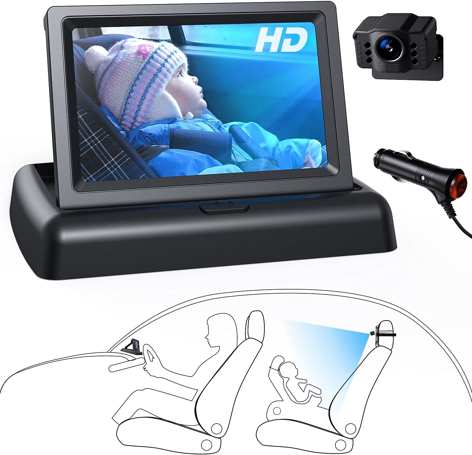 HD baby car camera mirror with monitor for car back seat backseat carseat rear view facing infant video Night Vision Easy car charger Installation