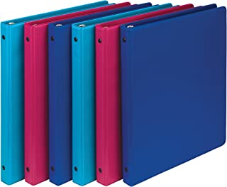 Samsill Fashion Color 3 Ring Storage Binders.5 Inch Round Ring, Assorted Colors May Vary (Blue Coconut, Dragon Fruit, Blueberry), Bulk Binders - 6 Pack