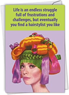 Hair Stylist - Retro All Occasion Thank You Card with Envelope (4.63 x 6.75 Inch) - Humorous Hairstylist, Barber Gratitude Note Card - Colorful Stationery Notecard for Women, Girls Hair Cut C4299TYG