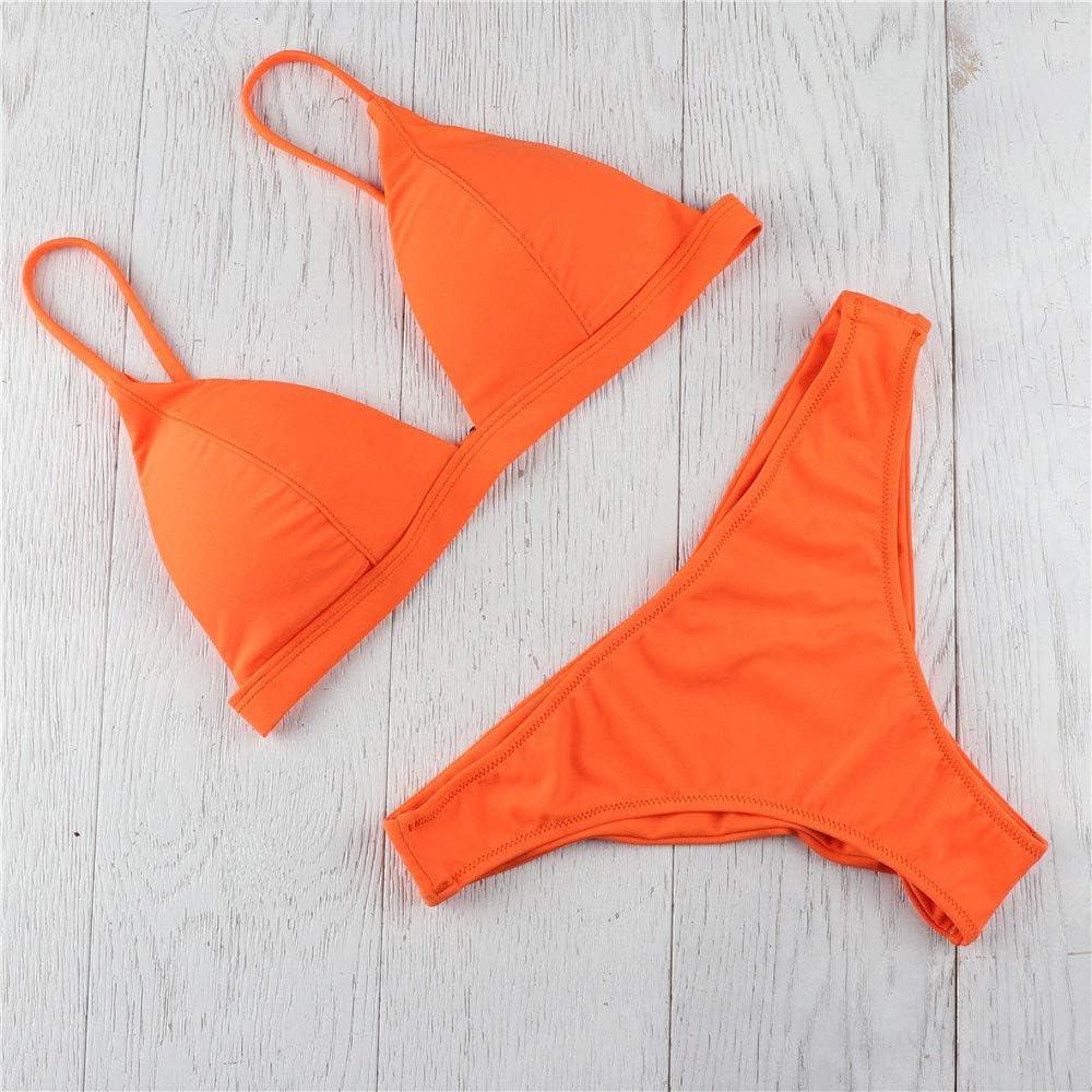 BOLANQ Frauen Einfarbig Bandage Bikini Set Brasilianische Badebekleidung Beachwear Badeanzug Orange-a