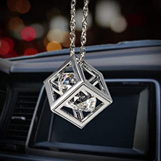 Bling Car Decor Clear Diamond Cube Rear View Mirror Charms, Floating Crystal Car Mirror Charms, Sun Catcher Hanging Ornament w/Chain, Bling Car Accessories, Car Charm & Home Decor Ornament (Clear)