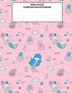 Wide Ruled Composition Notebook: Mermaid Under the Sea Pink Class Subject Journal