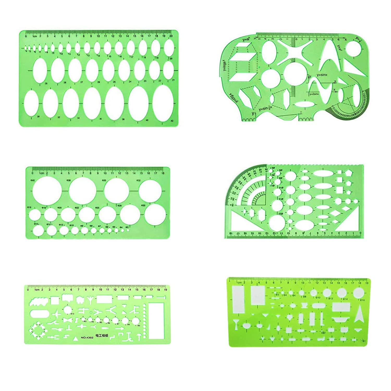 COMOK 6Pcs Drawing templates - Electrician Template, Circle Template,Oval Template,Geometric Template, Drawing Template for All Purpose, Technical Drawing Template, Clear Green Plastic Rulers