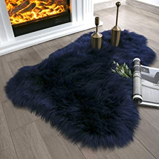Ashler Soft Faux Sheepskin Fur Chair Couch Cover Navy Blue Area Rug for Bedroom Floor Sofa Living Room 2 x 3 Feet