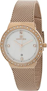 Naviforce Women's White Dial Stainless Steel Mesh Analog Watch - NF5005-RGW