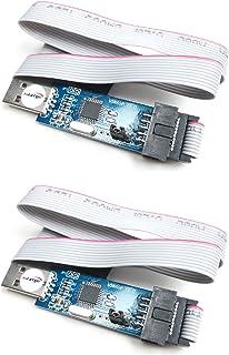 HiLetgo 2個セット 51 AVR Atmega プログラムUSBasp USBASP 10ピン USB プログラマー 3.3V/5V ワット/ケーブル [並行輸入品]