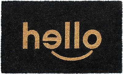 "Rugsmith Black Hello Machine Tufted Doormat, 18"" x 30"", Natural"