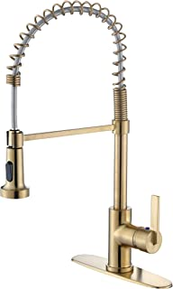 Derengge KF-5025-CS Single Handle Spring High Arc Kitchen Faucet with Deck Plate, 1 Hole or 3 Hole Installation,Meets cUPC NSF61-9 and AB1953 Lead Free,Brushed Gold Finished