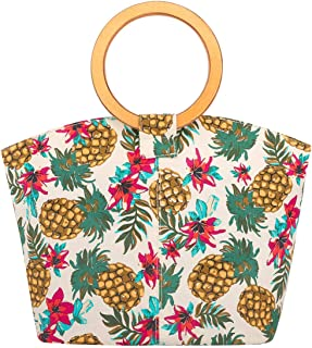 Luxspire Women Handbag Wooden Ring Top Handle Tote Bag Lady Canvas Daypack Purse