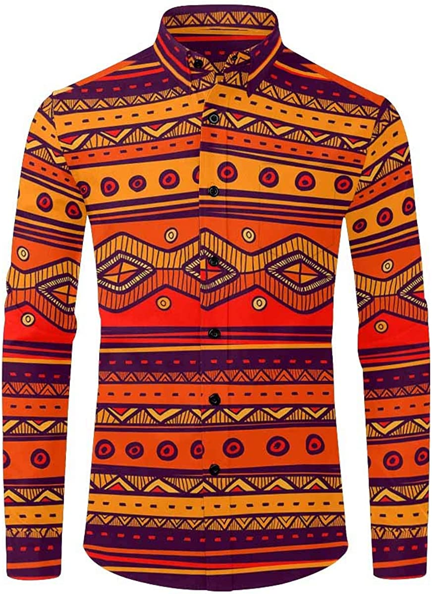 InterestPrint Men's Casual Button Down Hawaiian Long Sleeve Shirt African Art, Tribal Print