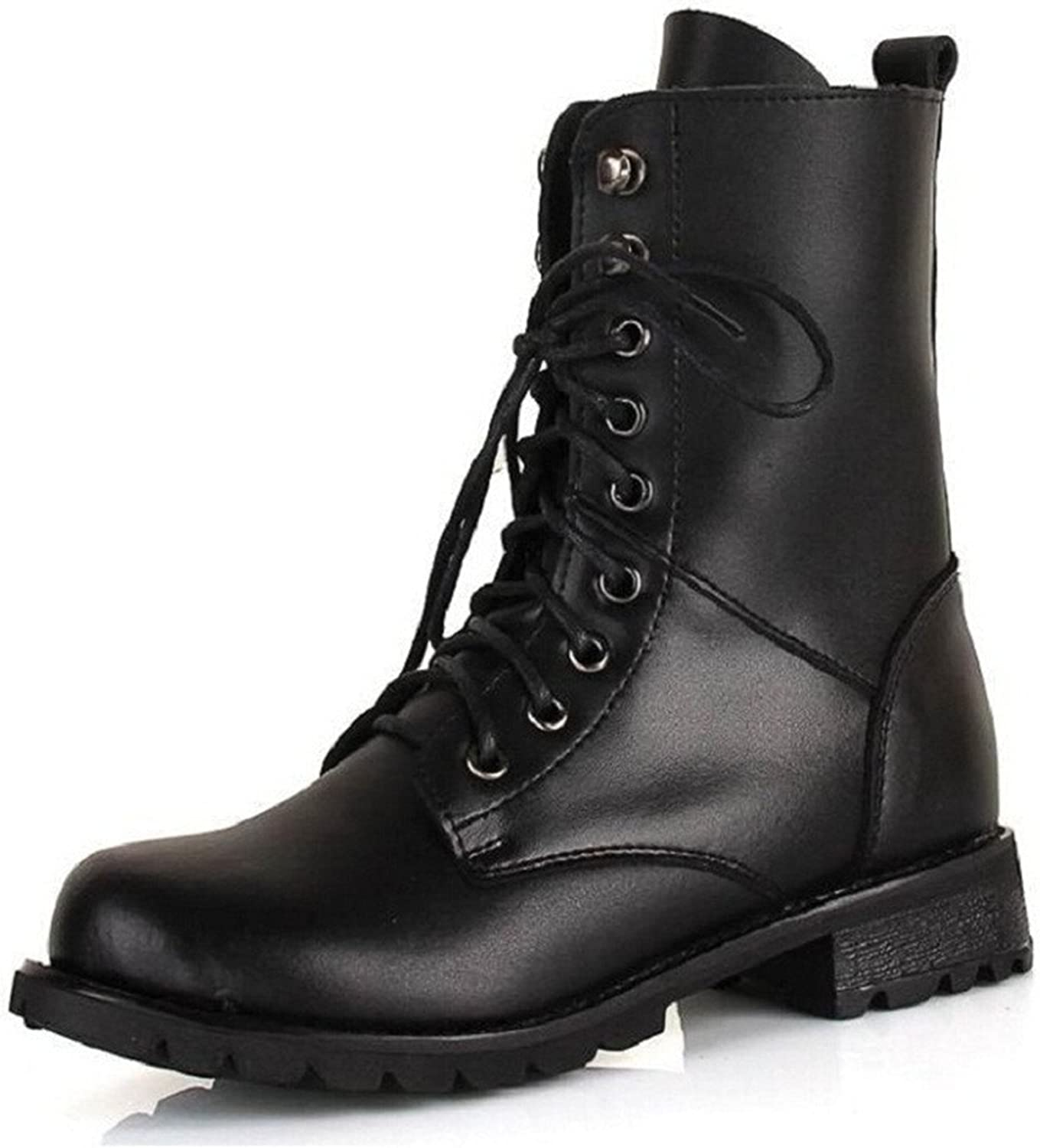 Henraly Big Size Women Riding Boots Black Pu Mid-Calf Boots Rivet Adults Maritn Boots for Women 35