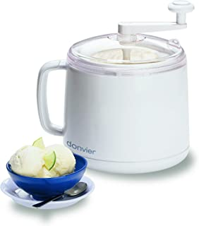 Donvier 837450 Manual Ice Cream Maker, 1-Quart, White