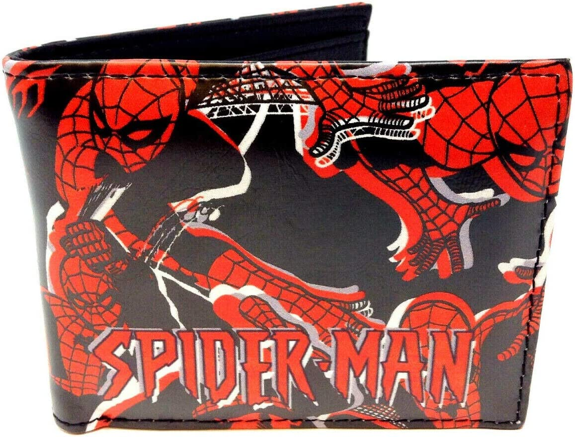 Amazing Spider-Man Sublimated Graphic Print PU Faux Leather Men's Bifold Wallet