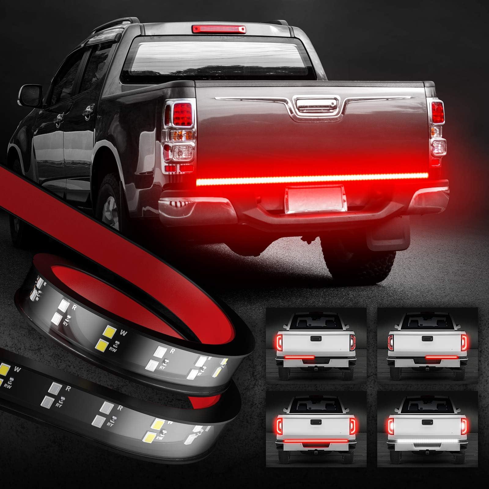 """OPT7 60"""" Tailgate Light Bar Double Row, Redline Choice LED Light, Flexible Strip: Red Solid Light, Brake Light, Turn Signal Light, White Reverse Light. Brake Light Line 2 Row Truck, SUV, RV, Trailer"""