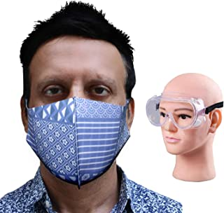 HACER Combo of 1 Piece Goggle ORURM02 Unisex Reusable Face Mask Multilayer Washable Stretchable Breathable Protective Nose Mouth Cover for Men & Women (6 Pcs)