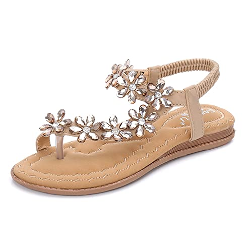 129ae18475fa0d BELLOO Women s Summer Boho Flat Sandals Peep-Toe Flip Flops Rhinestone  Beaded Shoes with Ankle