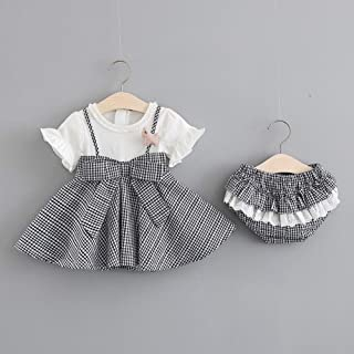 Alician Girl Children Kids Short Sleeve Plaid Dress with Lovely Small Underwear Two Piece Suit Outfit Black 70cm Household Supplies