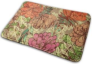 BLSYP Patrón Floral Vintage sin Costuras Alfombrilla para Puerta Alfombrillas para Puerta Alfombra Antideslizante Alfombra...