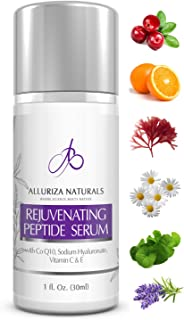 Rejuvenating Peptide Serum by Alluriza Naturals Vitamin C E, Hyaluronic Acid, CoQ10, Anti Aging Skin Care, Anti Wrinkle Natural Serum for Plumper & Firmer looking Skin, Collagen Booster, 1oz, 30ml