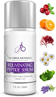 Rejuvenating Peptide Serum by Alluriza Naturals Vitamin C E, Hyaluronic Acid, CoQ10, Anti Aging Skin Care, Anti Wrinkle Natural Serum for Plumper & Firmer looking Skin, Collagen Booster, 1oz, 30ml