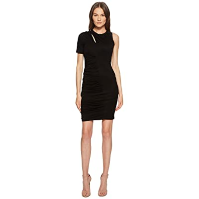 YIGAL AZROUEL One Sleeve Dress with Rouching (Jet) Women