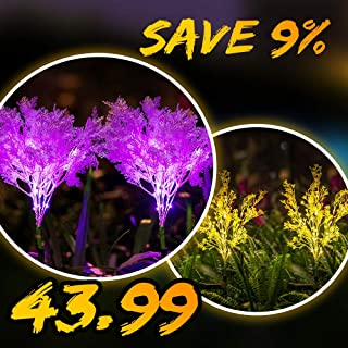 【9% Off】2 PK Yellow Flowers Lights & 2 PK Pink Solar Flowers Bundle