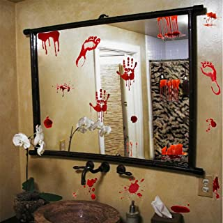 IARTTOP Halloween Bloody Handprint Footprint Decal Zombie Vampire Bloodstains Sticker, Screaming Bloody Decal for Bathroom Mirror Halloween Home Wall Art