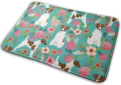 """Smooth Fox Terrier Floral Flowers Dog Breed Turquoise_27680 Doormat Entrance Mat Floor Mat Rug Indoor/Outdoor/Front Door/Bathroom Mats Rubber Non Slip 23.6"""" X 15.8"""""""