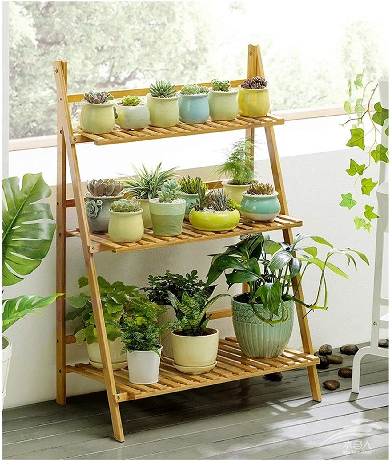 Plant Storage Rack 3-Layer Flower Stand Pot Rack - Folding Plant Stand - Garden Stand Display Stand Ladder Outdoor Indoor (Size   50  40  96cm)