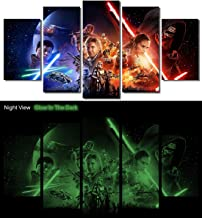 Picture Sensations® Glow In The Dark Framed Canvas Art Print, Star Wars The Force Awakens Movie Wall Canvas Art - 60