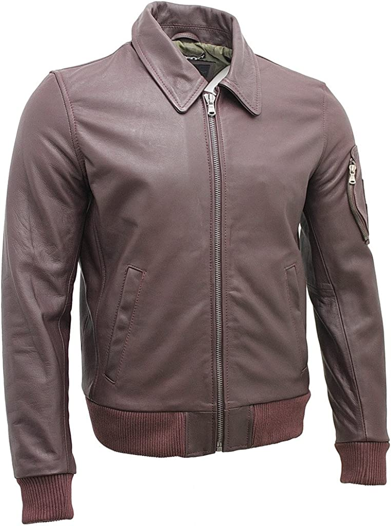 Men's A2 Burgundy Cowhide Analine Leather Bomber Jacket