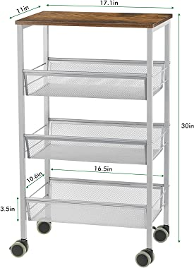 SEHERTIWY Kitchen Island Cart on Wheels, 3-Tier Rolling Storage Microwave Rack with Wooden Shelves, Lockable Utility Cart wit