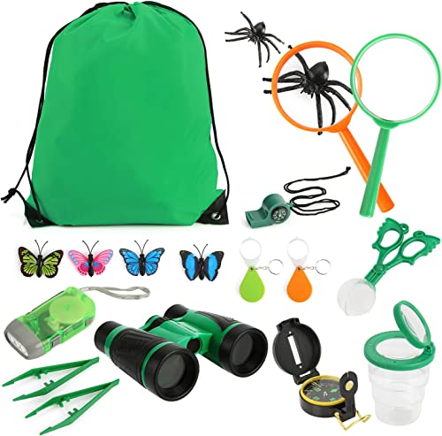 lowest Children Outdoor outlet sale Exploration Set, BENBOR 18PCS Nature Exploration Kit, new arrival Children Adventure Set with Toy Binoculars, Compass, Magnifying Glass,Insect Trap & Collection Kit for Education, Camping, Hiking online sale