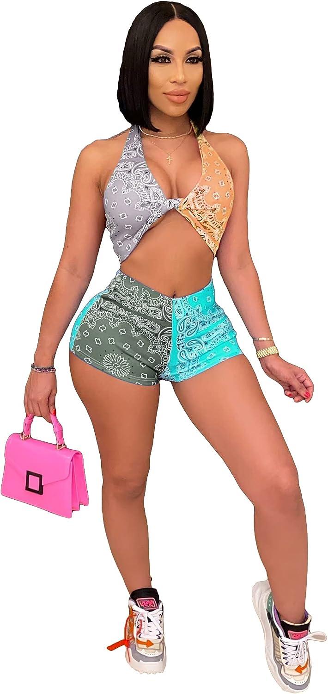 2Pcs Women Halter Crop Top Shorts Set Floral Boho Print Bodycon Outfits Color Block Vintage Sundress Suits