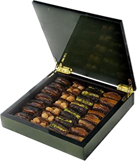 Olive Green Wood Gift Box with Gourmet Stuffed Dates (28 Pieces)