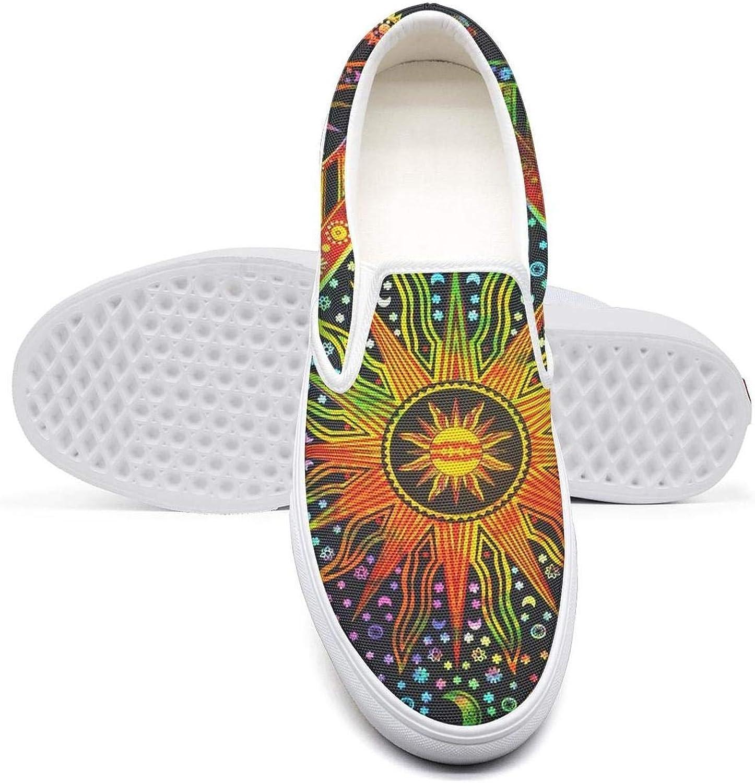 Vosda Trippy Sunflower Moon Sun Classic Women's Canvas Slip-On shoes Sneaker