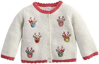 Kids Girls Santa's Sleigh Collection Reindeer Cardigan Sweater