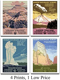 National Parks - Set of 4 11x14 Unframed Art Prints - Makes a Great National Park/Educational Facility About Parks Decor