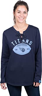 Icer Brands NFL Tennessee Titans Women's Fleece Sweatshirt Lace Long Sleeve Shirt, X-Large, Navy