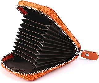 11 Colori Porta Carte di Credito Portafoglio Donne Uomo Pelle Cerniera RFID (Arancione)