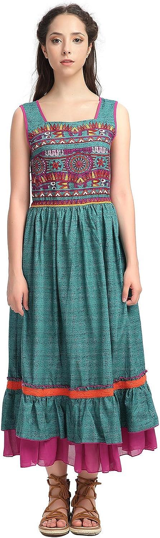 Yuzi.may Women's Boho Square Neck Drawstring Sleeveless Ruffled Swing Maxi Dress